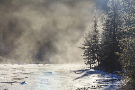 frozen river: Beautiful winter mountain landscape with frozen river.