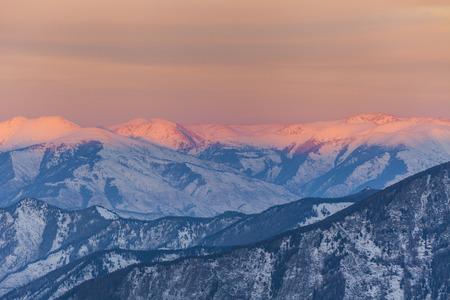 beatitude: Amazing mountain landscape at sunset sky background. Stock Photo