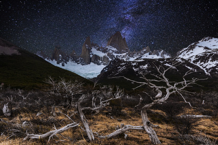 roy: Fitz Roy in the night sky. Patagonia. Argentina.