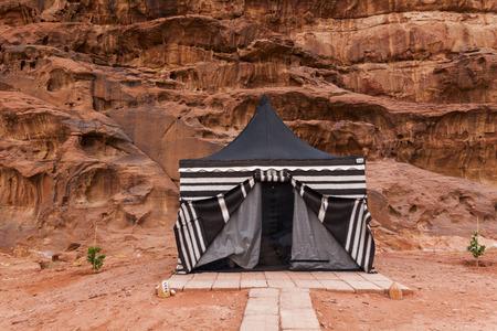 Tourist tent in Wadi Rum dessert. Jordan. Stock fotó