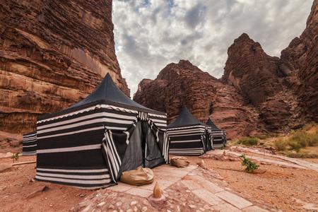 Touristische Zelte in Wadi Rum Dessert. Jordanien. Standard-Bild - 50475942