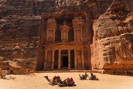 siq: Al Khazneh or The Treasury at Petra. Jordan. Stock Photo