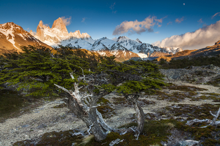 glaciares: View of Fitz Roy mountain. Los Glaciares National Park, Patagonia, Argentina. Stock Photo