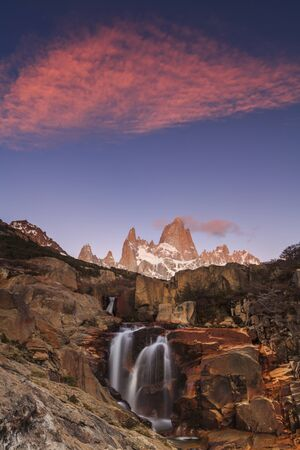 fitz roy: Picturesque Waterfall at Mount Fitz Roy. Patagonia. Argentina.