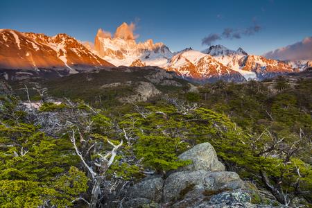 los glaciares: View of Fitz Roy mountain. Los Glaciares National Park, Patagonia, Argentina. Stock Photo