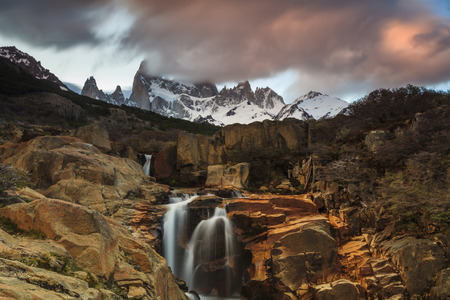 roy: Picturesque Waterfall at Mount Fitz Roy. Patagonia. Argentina.