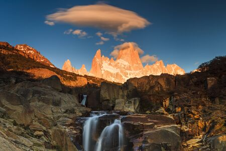 fitz: Picturesque Waterfall at Mount Fitz Roy. Patagonia. Argentina.