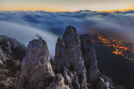 valley view: Amazing view from Ai-Petri mountain. Evening Crimea.