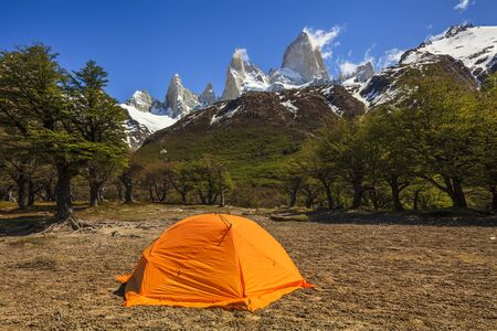 alpenglow: Tent at the Mount Fitz Roy.Los Glaciares National Park,  Patagonia,  Argentina.