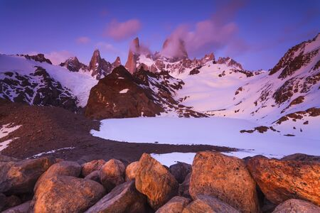 fitz: Scenic view of Mount Fitz Roy. Patagonia. Argentina. Stock Photo