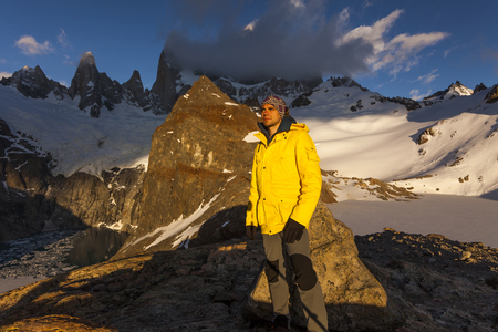 fitz: Young traveler on the background of Fitz Roy. Patagonia. Argentina.