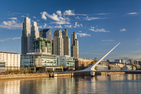 mujer:  Nice view of the cityscape. Puente de la Mujer. Puerto Madero Neighborhood. Buenos Aires. Argentina.
