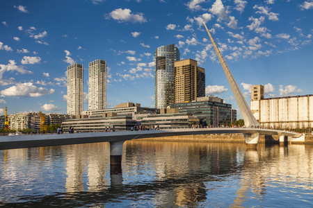 mujer: �Nice view of the cityscape. Puente de la Mujer. Puerto Madero Neighborhood. Buenos Aires. Argentina.