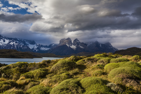 chile: Amazing views of the mountains and lake. National Park Torres del Paine, Chile. Stock Photo