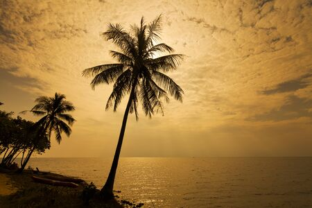 chang: Romantic sunset over the beach. Koh Chang. Thailand.