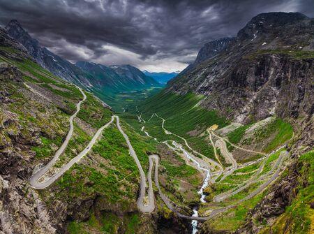 sharp curve: Trollstigen, road called the Trolls Footpath in Norway