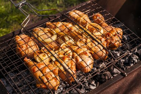 appetizing: Appetizing chicken legs on the grill.B-B-Q. Stock Photo