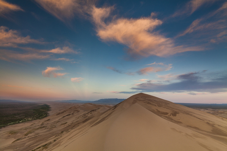 gobi: Colorful sunset over the dunes of the Gobi Desert. Mongolia.