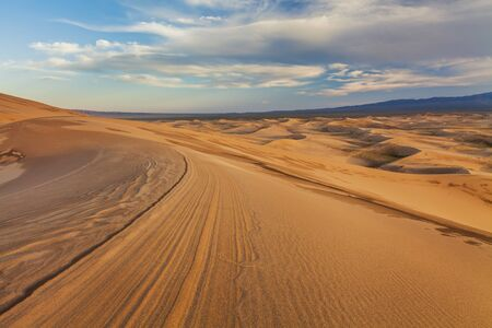 gobi: Beautiful yellow dune in the desert. Gobi Desert. Mongolia. Stock Photo