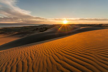 Picturesque desert landscape with a golden sunset over the dunes. Stock Photo
