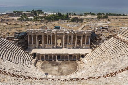 pamukkale: Amphitheater in ancient Hierapolis, Pamukkale, Turkey.