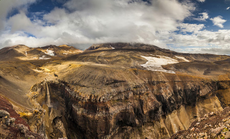 gully: Picturesque view of the dangerous canyon. Landscapes of the Kamchatka Peninsula.
