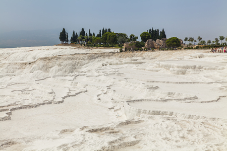 travertine: Beautiful views of the natural travertine pools and terraces, Pamukkale, Turkey