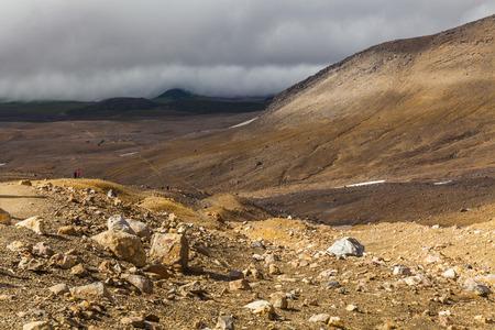 lifeless: Wild landscape with lifeless volcanic rocks. Kamchatka Peninsula. Stock Photo