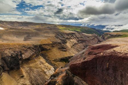 kamchatka: Wild landscape with lifeless volcanic rocks. Kamchatka Peninsula. Stock Photo