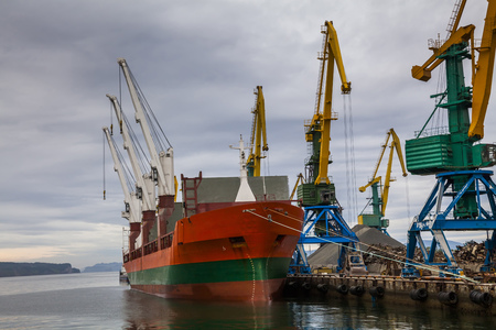 tonnage: Cargo ship in the port. Kamchatka Peninsula.