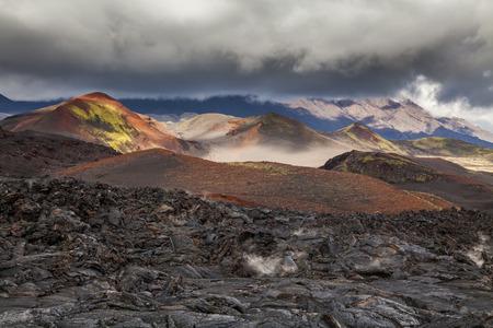 Dramatic views of the volcanic landscape. Kamchatka Peninsula.