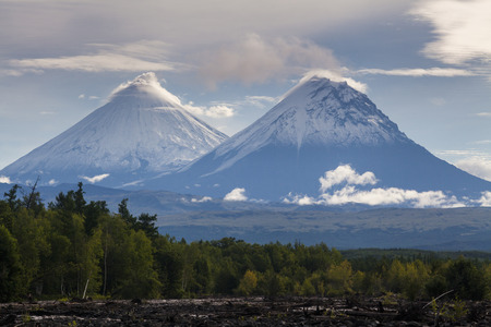 Nice view of the volcanoes of the Kamchatka Peninsula Stock Photo