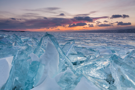ice crystal: Colorful sunset over the crystal ice of Baikal lake