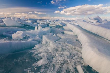 hummock: White ?racked ice on the Baikal lake Stock Photo