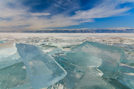 shamanism: Field of ice hummocks on the frozen Lake Baikal