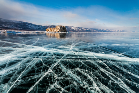shamanism: Ice patterns on Lake Baikal. Siberia, Russia Stock Photo