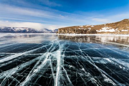 Ice patterns on Lake Baikal. Siberia, Russia Stock Photo