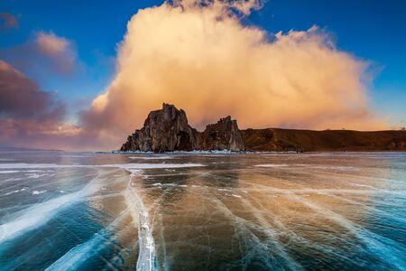 shamanism: Shaman Rock at sunset. Lake Baikal, Siberia Russia