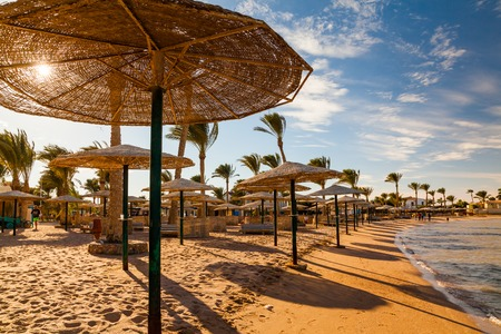Picturesque views of the tropical beach with palm trees, parasols and sunbeds Stock Photo