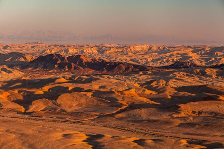 natural formation: Sunset in the Negev desert. Makhtesh Ramon Crater Stock Photo