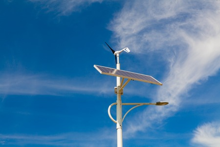 Street lighting works from solar panels and wind generators Stock Photo