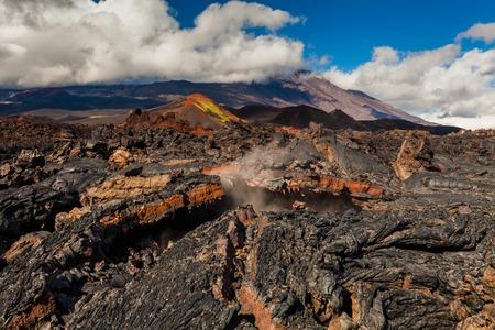 Frozen lava of Tolbachik volcano, Kamchatka Stock Photo