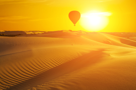 Beautiful desert landscape with a colorful sunset