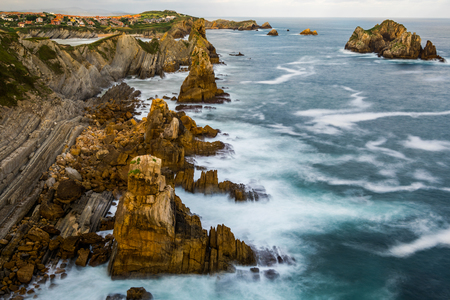Dramatic view of Playa de la Arnia, Cantabria, Spain.