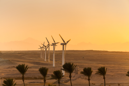 Big wind turbines in the desert at sunset background Stok Fotoğraf - 121561390