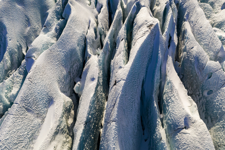 Svinafellsjokull glacier in Iceland at sunset. Aerial view.