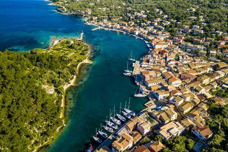 Gaios, capital city of Paxos Island, aerial view. Greece. Stok Fotoğraf