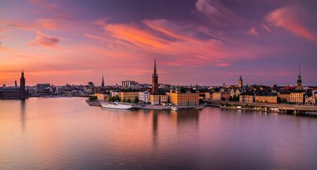 Scenic panoramic view of Gamla Stan, Stockholm at sunset, capital of Sweden. Stock Photo