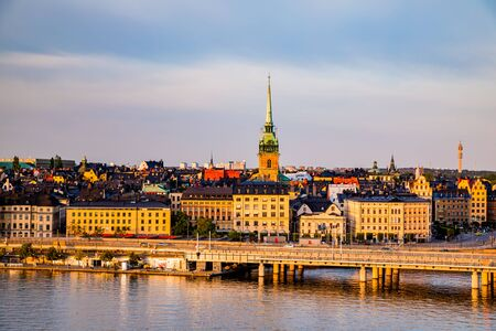 Scenic panoramic view of Gamla Stan, Stockholm at sunset, capital of Sweden. Stock Photo - 129845596