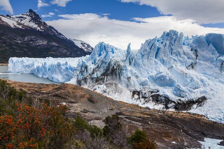 Amazing landscape with blue ice and mountains. Perito Moreno Gla